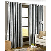 Riva Home Imperial Velvet Woven Lined Eyelet Curtains, Silver, 66 x 72 Inch
