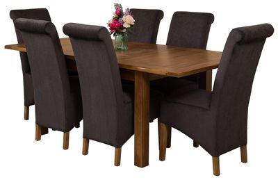 Cotswold Rustic Extending Solid Oak Dining Set Table + 6 Black Fabric Chairs