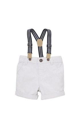 F&F Mini Grid Chino Shorts with Braces Light Grey 9-12 months