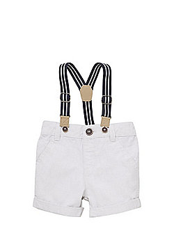 F&F Mini Grid Chino Shorts with Braces - Light Grey