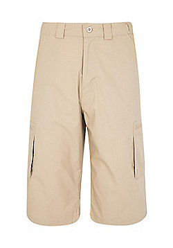 Mountain Warehouse Mens Trek II Long Shorts w/ Partly Elasticated Waistband - Beige