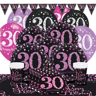 Pink Celebration 30th Birthday Party Pack - Deluxe Party for 8