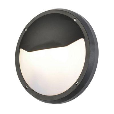 Litecraft Oli 2 Bulb Circular Eyelid Outdoor Bulkhead Wall Light, Black