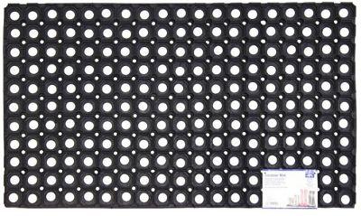 JVL Rondo Rubber Ring Heavy Duty Outdoor Contract Door Mat - 40 x 60 cm - Black