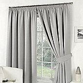 "Dreamscene Pair Thermal Blackout Pencil Pleat Curtains, Silver - 46"" x 54"" (116x137cm)"