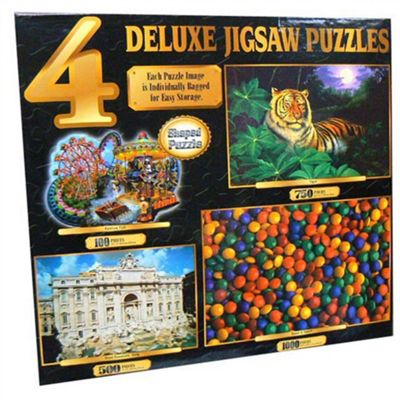 Deluxe 4 Jigsaw Puzzles 100, 500,750 And 1000 Pieces