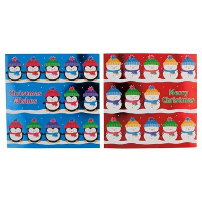 Tesco Foiled Snowman & Penguin Christmas Cards, 12 Pack