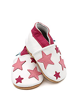 Dotty Fish Soft Leather Baby Shoe - White and Pink Twinkle Stars - White