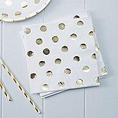 Pick & Mix White Metallic Polka Dot Napkins - 3ply Paper