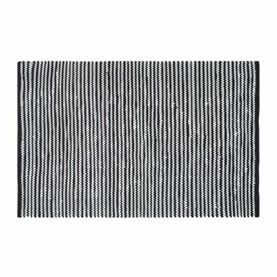 Homescapes Groove Black and White Monochrome Stripy Cotton Chindi Rug, 66 x 200 cm