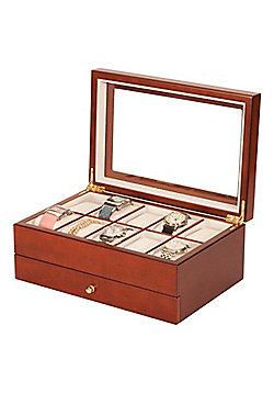 Lockable 10 Watch Box - Walnut