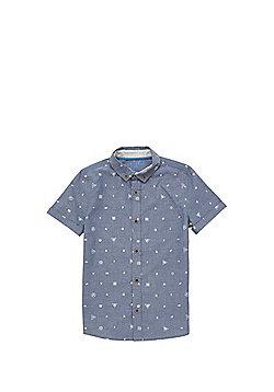 F&F Tech Print Denim Short Sleeve Shirt - Blue