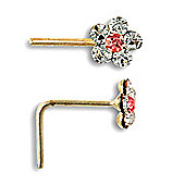 Jewelco London 9ct Yellow Gold Daisy Nose Stud set with pink & white CZ stones