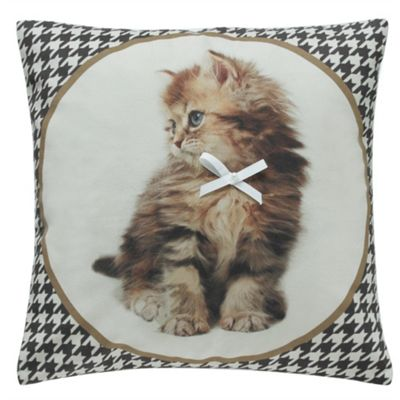 Fluffy Kitten with Bow Cushion - Brown