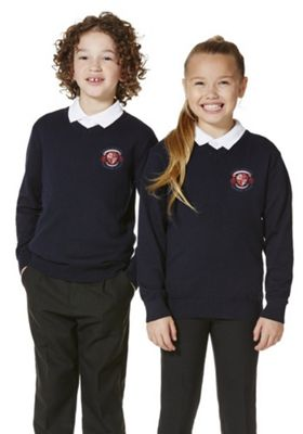 Unisex Embroidered V-Neck Cotton School Jumper with As New Technology 2-3 years Navy blue