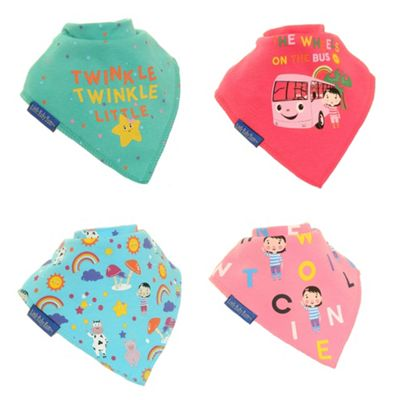 Little Baby Bum Bandana Dribble Teething Bibs (Girls 4 pack) by Zippy Baby, Soft and Absorbent, Newborn to Toddler