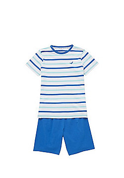 F&F Striped Short Pyjamas - Blue