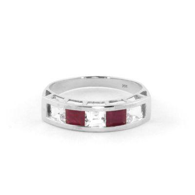 QP Jewellers White Topaz & Ruby Prestige Ring in 14K White Gold - Size O 1/2