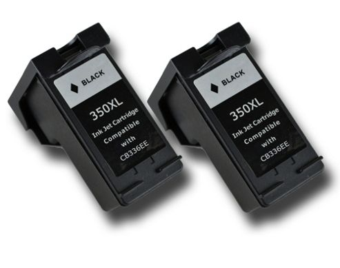 2 Black HP 350 XL Chipped Compatible ink cartridges CB335EE CB336EE for HP Photosmart