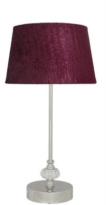 Silver And Cut Glass Candle Stick Table Lamp With 9 Inch Red Crocodile Shade