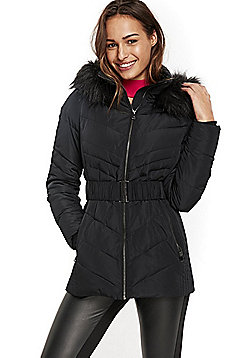 Wallis Belted Puffer Coat - Black