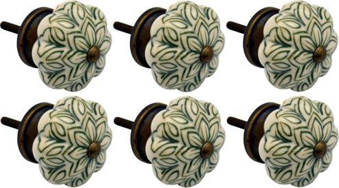 Ceramic Cupboard Drawer Knobs - Vintage Flower Design - Olive Green - Pack Of 6