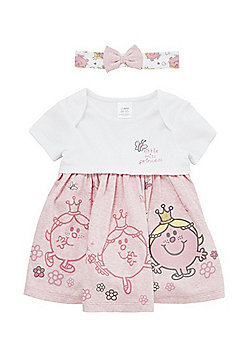 Little Miss Princess Bodysuit Dress and Headband Set - White & Pink