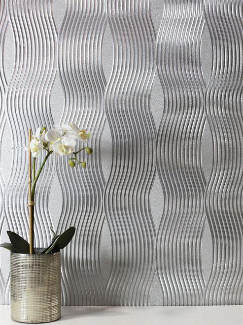Foil Wave Wallpaper Silver Arthouse 294501