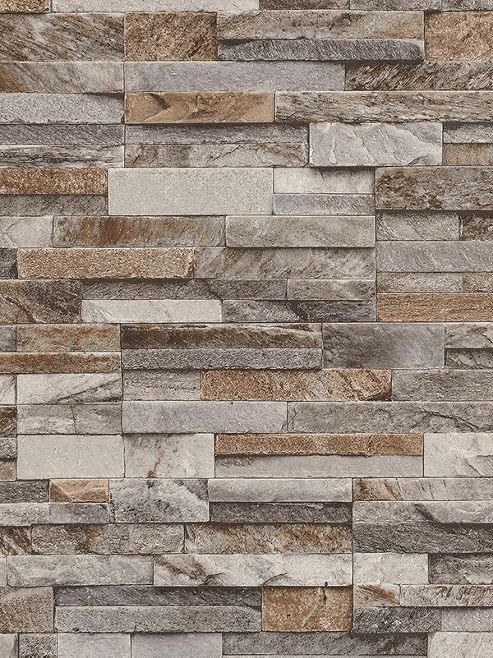 Slate Stone Wallpaper Brown and Grey P+S 42106-10