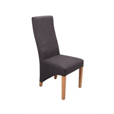 Pair of Baxter Linen Style Dining Chairs - Charcoal