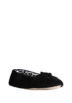 F&F Plush Ballerina Slippers - Black