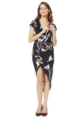 AX Paris Tulip Print Wrap Front Dress Multi 14