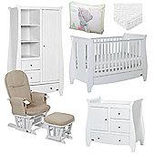 Tutti Bambini Lucas 6 Piece + Pocket Sprung Mattress Nursery Room Set White Finish