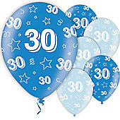 30th Birthday Blue 11 inch Latex Balloons - 25 Pack