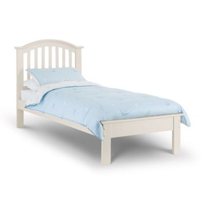 Happy Beds Olivia Wood Low Foot End Bed with Orthopaedic Mattress - White - 3ft Single