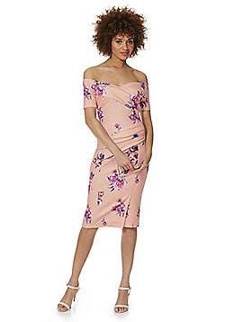 Feverfish Floral Print Bardot Dress - Pink