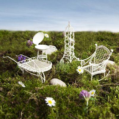 Mini Fairy Garden 4pc Set - Chair, BBQ, Obelisk & Wheelbarrow