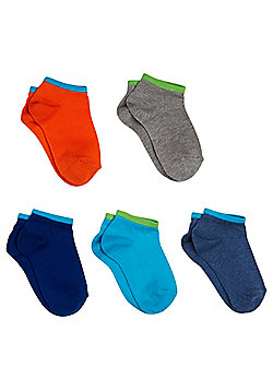 F&F 5 Pair Pack of Colour Block Trainer Liners - Multi
