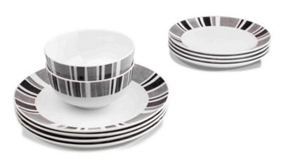 Sabichi 12 Piece Herringbone Dinnerware Set