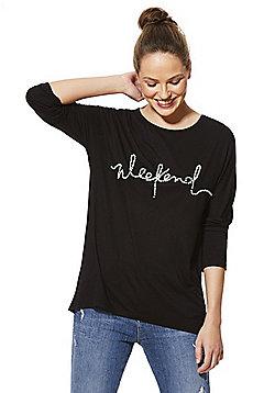 F&F Faux Pearl Slogan 3/4 Sleeve T-Shirt - Black