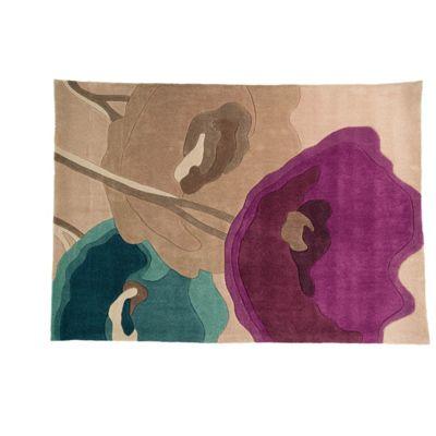 Infinite Mod Art Poppy Flowers Oblong Teal/Purple Rug - 80X150 cm