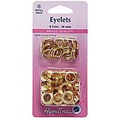 Hemline 10.5mm Gold Brass Nickel Eyelet Refill Pack (24 Sets)