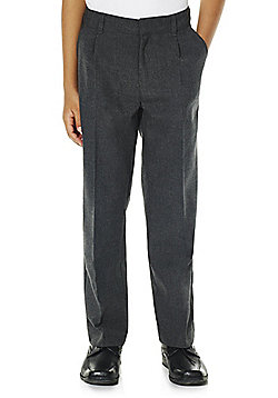 F&F 2 Pack of Boys Pleat Front Reinforced Knee School Trousers - Dark grey