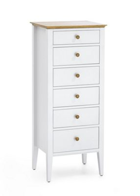 Serene Furnishings Grace 6 Drawer Wellington Tallboy Chest - Golden Cherry with Opal White