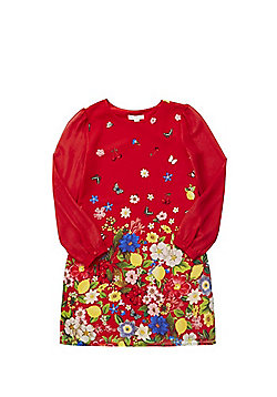 Yumi Girl Floral Long Sleeve Shift Dress - Red