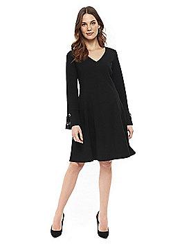 Wallis Eyelet Bell Sleeve Dress - Black