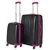Swiss Case Luggage 4 Wheel Spinner Bold 2 Piece Abs Hard Shell Suitcase Set Black/Pink