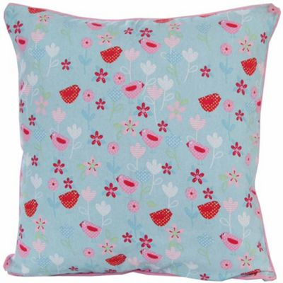 Homescapes Cotton Birds and Flower Cushion Cover, 30 x 30 cm