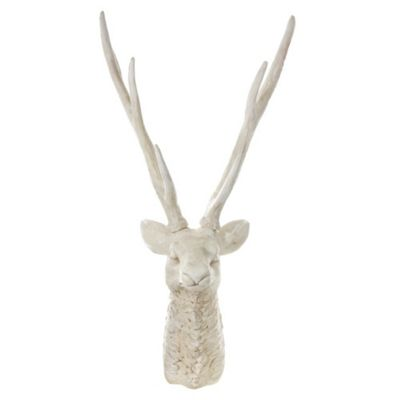 Realistic Look Aged White Deer or Stags Head Wall Art Ornament 77cm
