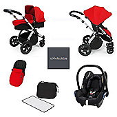 ickle bubba Stomp V3 Maxi Cosi All in One Travel System - Red (Silver Chassis)